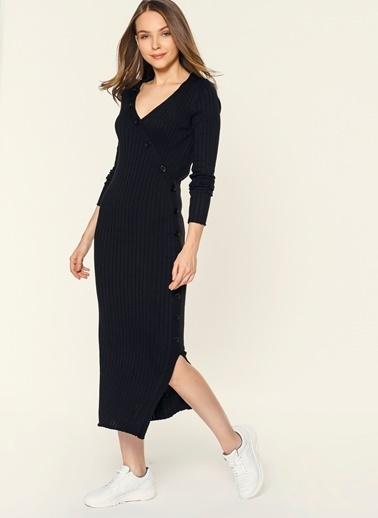 Loves You Düğmeli V Yaka Triko Elbise Siyah